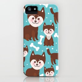 funny brown husky dog and white bones, Kawaii face with large eyes and pink cheeks blue background iPhone Case