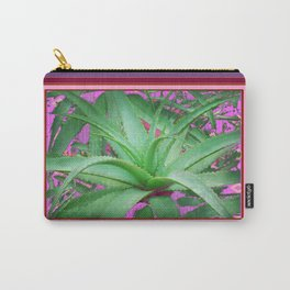 Jade Green Jungle Succulent Agave Plant Pink-Puce Purple  Design Carry-All Pouch