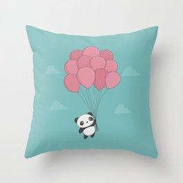 Kawaii Panda In The Sky Throw Pillow
