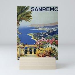 Vintage Sanremo Italian travel ad Mini Art Print