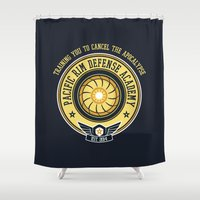 pacific rim Shower Curtains featuring Pacific Rim Defense Academy by fishbiscuit