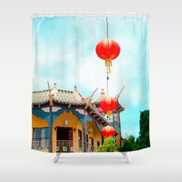 Travel photography Chinatown Los Angeles VI temple with lamps Shower Curtain