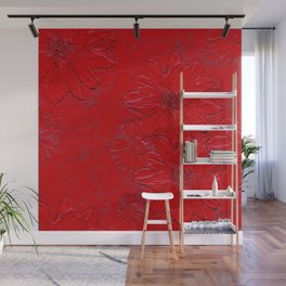 Embossed Red Floral Wall Mural