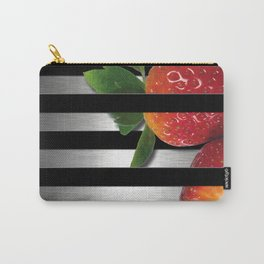Black & Silver Overlapping Stripes & Strawberries Carry-All Pouch