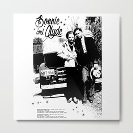 Bonnie and Clyde - Retro Poster - Vintage - Gangster - Outlaw Metal Print