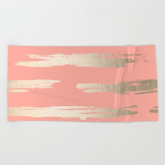 Simply Brushed Stripe in White Gold Sands on Salmon Pink Beach Towel