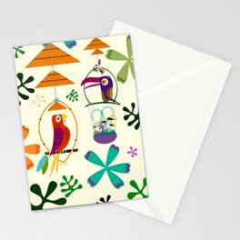 Vintage Modern Tiki Birds Stationery Cards