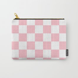 Checkered - White and Pink Carry-All Pouch