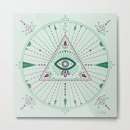 Evil Eye Mandala – Mint Metal Print