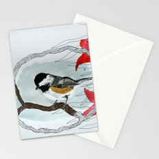 Black capped chickadee and fantasy flowers and lines Stationery Cards