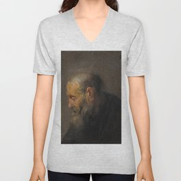 Rembrandt - Study of an Old Man in Profile (1630) Unisex V-Neck