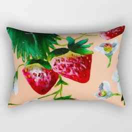 Strawberries and Bees Rectangular Pillow