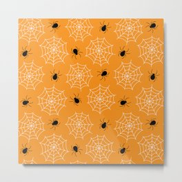 Halloween Spider Web Seamless Pattern Metal Print