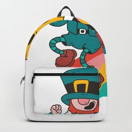 Leprechaun and beer on rainbow Backpack
