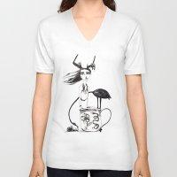 alice in wonderland V-neck T-shirts featuring Wonderland by lesinfin