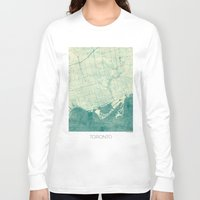toronto Long Sleeve T-shirts featuring Toronto Map Blue Vintage by City Art Posters