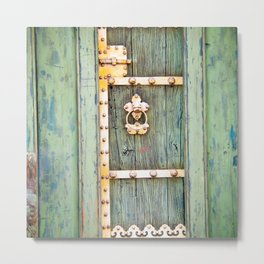 Antique Green Gold Door - Storybook Aesthetic - Cottage Chic - Ecclectic Boho - Travel Photography Metal Print