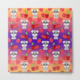 Cute little happy grey little baby Schnauzer puppies, yummy red sweet summer strawberries and funny Kawaii cherries purple orange fruity pattern design. Metal Print