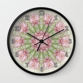 Pink Chrysanthemums Kaleidoscope Art 7 Wall Clock