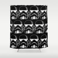 storm trooper Shower Curtains featuring New Black storm trooper pillow by Eyecatchingdesigns
