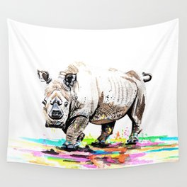 Sudan the last male northern white rhino Wall Tapestry