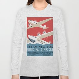 Vintage Airplane Art - City of New York Municipal Airports Long Sleeve T-shirt