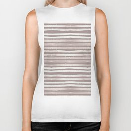 Simply Shibori Stripes Lunar Gray and Red Earth Biker Tank
