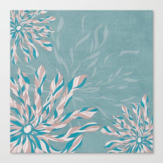 Flower Power Teal/Pink Canvas Print