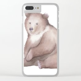 Bear Watercolor Clear iPhone Case