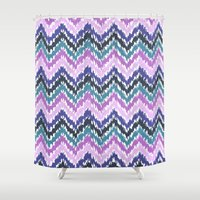 ikat Shower Curtains featuring Ikat Chevron by Noonday Design