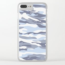 Pastel Blue Dusk Surprise Camo Clear iPhone Case