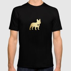 French Bulldog Gold Mens Fitted Tee SMALL Black