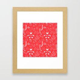 Doodle Christmas pattern red Framed Art Print