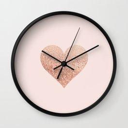 ROSEGOLD HEART BLUSH Wall Clock