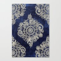 damask Canvas Prints featuring Cream Floral Moroccan Pattern on Deep Indigo Ink by micklyn