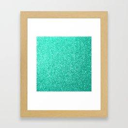 Aquamarine Aqua Blue Sparkly Glitter Framed Art Print