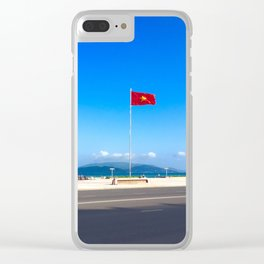 Vietnam Flying Flag Clear iPhone Case