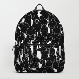 Public assembly B&W inverted / Lineart people pattern Backpack