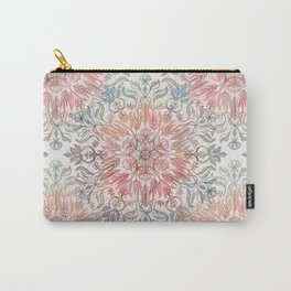 Autumn Spice Mandala in Coral, Cream and Rose Carry-All Pouch