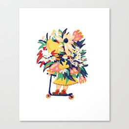 Floral Scooter Babe Canvas Print