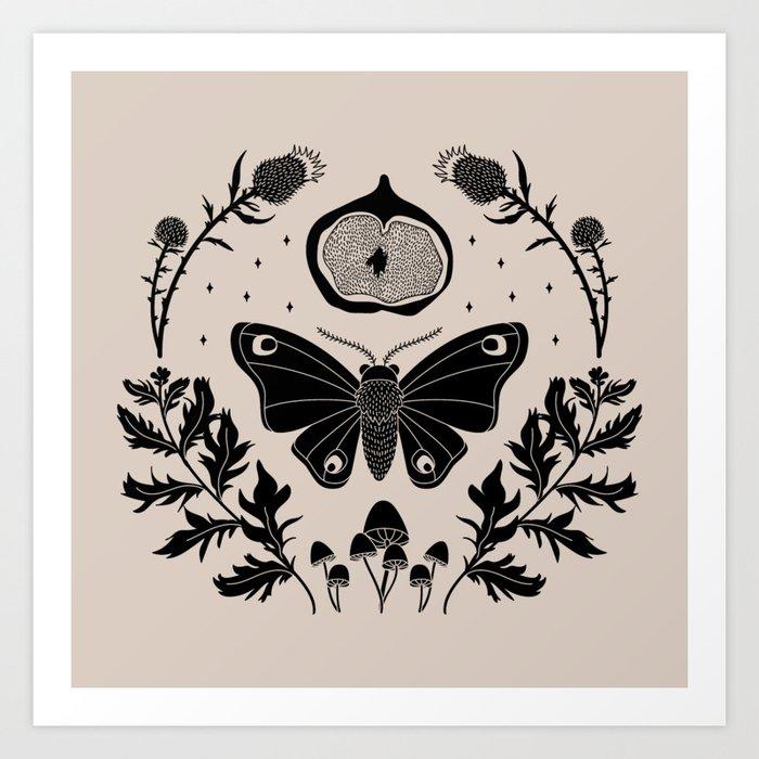 Moth, Mugwort & Mushrooms Art Print