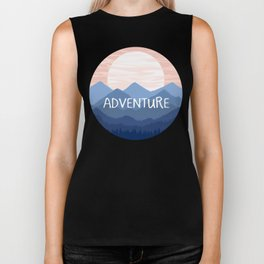 Adventure Sunset Vector Landscape Biker Tank