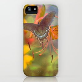 Butterfly Warm Days:  Fine Art Photograph in hot oranges, grey and green iPhone Case