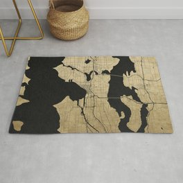Seattle Black and Gold Street Map Rug