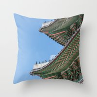 korea Throw Pillows featuring Gyeongbokgung Palace Lines_South Korea by Jennifer Stinson