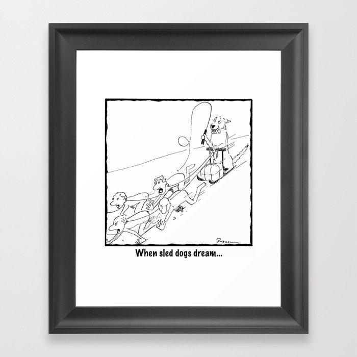 When Sled Dogs Dream Framed Art Print
