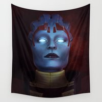 mass effect Wall Tapestries featuring Mass Effect: Samara by Ruthie Hammerschlag