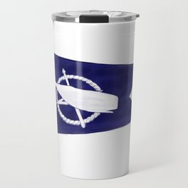 Nantucket Blue and White Sperm Whale Burgee Flag Hand-Painted Travel Mug