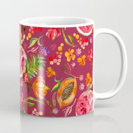 Tropical Fruit Festival in Red | Frutas Tropicales en Rojo Coffee Mug
