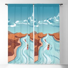 Blue river flowing through the high mountain and rafting people landscape Blackout Curtain